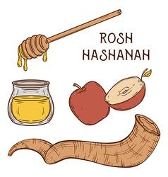 Traditional symbols of rosh hashanah vector