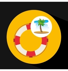 Tropical vacation beach life buoy icon vector