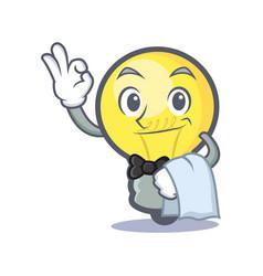 Waiter light bulb character cartoon vector