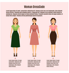 Woman dress code infographic on pink vector