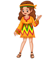 woman dressed in hippie clothes vector image vector image