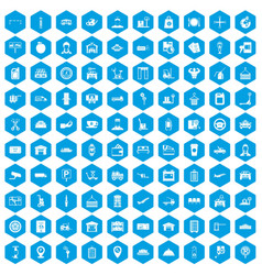 100 loader icons set blue vector