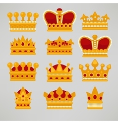 Crown icons flat royal set vector