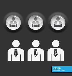 Business man icon set in black color vector