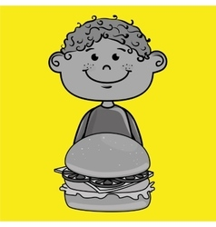 Boy burger food vector
