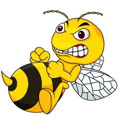 Angry bee cartoon vector image