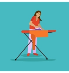 Woman ironing  housewife vector