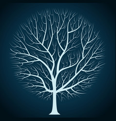 Graphic design bright tree silhouette on a dark vector