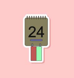 paper sticker on stylish background calendar vector image