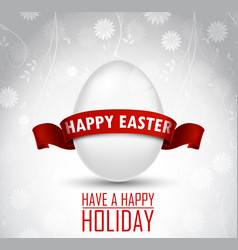 Easter egg with a red ribbon on white background vector