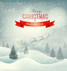 Christmas winter landscape background with santa vector image