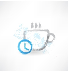 Time to drink coffee grunge icon vector