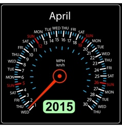 2015 year calendar speedometer car in April vector image vector image