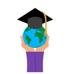 Graduation cap in hand vector image