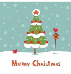 Cute greeting card with Christmas tree vector image