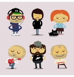 Funny office characters smiling vector