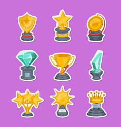 beautiful golden trophy cups and awards vector image vector image