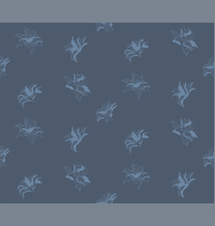 blue seamless pattern with drawn flowers vector image vector image