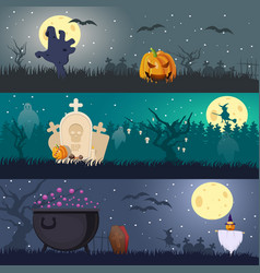 cartoon halloween horizontal banners vector image vector image