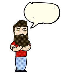 Cartoon serious man with beard with speech bubble vector