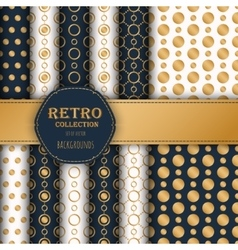 Collection gold polka dots seamless patterns vector