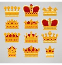 Crown icons flat royal set vector image