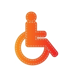 Disabled sign orange applique vector