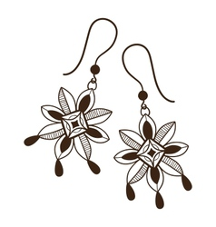 Earrings with flowers vector image
