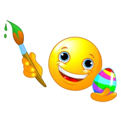 Emoticon coloring easter egg vector