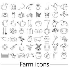 Farm and farming big simple outline icons set vector