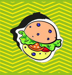 fashion patch badge pin stocker with burger pop vector image vector image