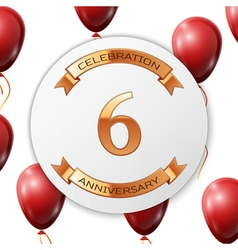 Golden number six years anniversary celebration on vector
