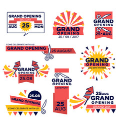 Grand opening event icons set for shop or vector