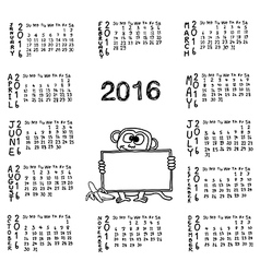 Hand drawn doodles of calendar for 2016 vector