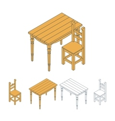 Isometric wooden furniture vector