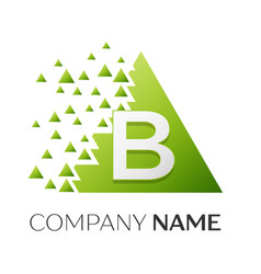 Letter b logo symbol in colorful triangle vector