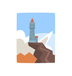 little castle on top of cliff fantasy fortress on vector image vector image