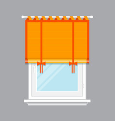 Modern window with orange jalousie isolated vector