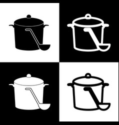 Pan with steam sign black and white icons vector