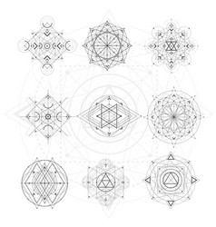 sacred geometry signs set of symbols and elements vector image