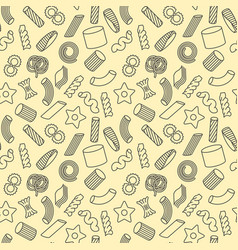 seamless pattern with different types of pasta vector image vector image