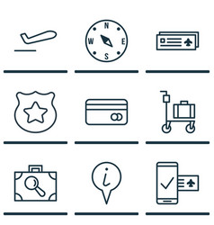 Set of 9 travel icons includes plastic card vector