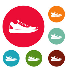 sneakers icons circle set vector image