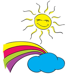 Sun clouds with a rainbow on a white background vector image vector image
