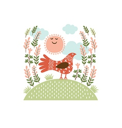 The cute bird on a hill vector image vector image