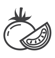 Tomato line icon vegetable and diet vector