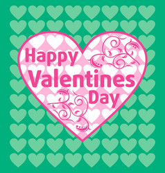 Valentines day background card green vector