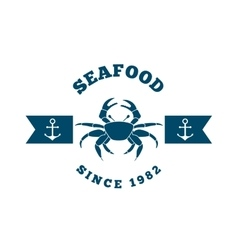 Sea food frame crab isolated icon vector