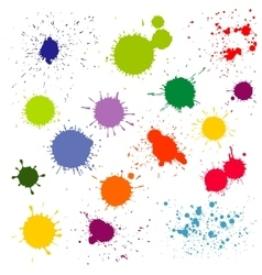 Color paint splatter ink blots collection vector