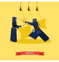 Poster of martial arts kendo fighters in vector